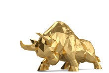 Gold Bull On White Background....