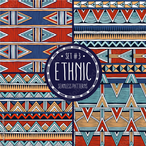 Poster Boho Style Multicolo ethnic backgrounds collection. Set of 4 modern abstract seamless backgrounds. All patterns are available under the clipping mask. EPS10 vector illustration.