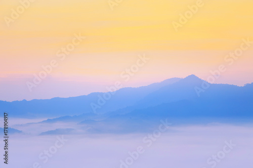 Canvas Prints Light pink Sunshine and clouds on the morning mist At Phu Lang Ka, Phayao, Thailand