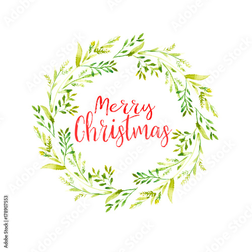 Merry Christmas Word With Watercolor Christmas Frame Of