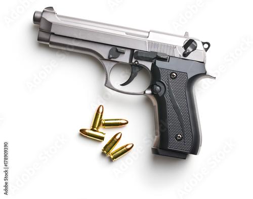 9mm pistol bullets and handgun. Canvas Print