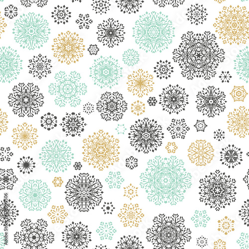 Cotton fabric Vintage Seamless snowflakes pattern. EPS 10 vector