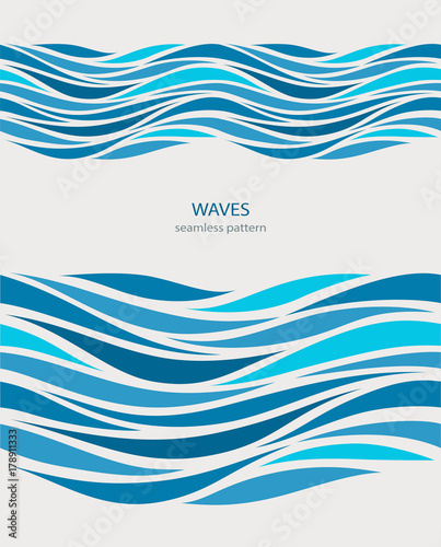 Wall Murals Abstract wave Marine seamless pattern with stylized blue waves on a light background. Water Wave abstract design.