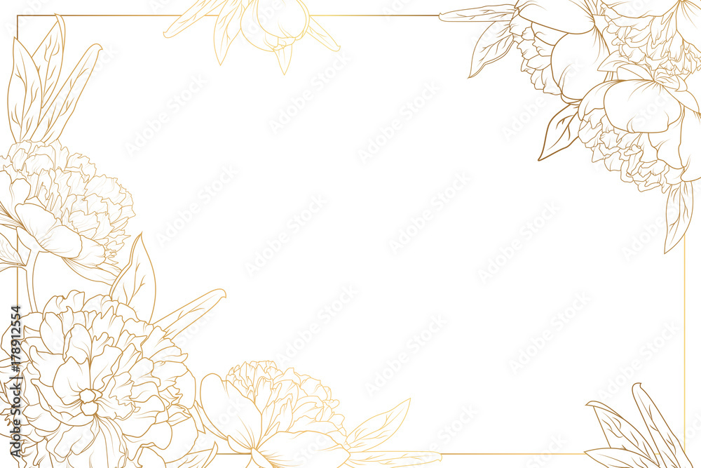 Fototapety, obrazy: Rose peony flowers border frame with decorated corners. Floral botanical foliage garland bloom blossom. Bright shiny golden gradient light reflection on white background. Vector design illustration.