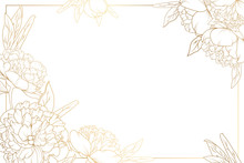 Rose Peony Flowers Border Frame With Decorated Corners. Floral Botanical Foliage Garland Bloom Blossom. Bright Shiny Golden Gradient Light Reflection On White Background. Vector Design Illustration.
