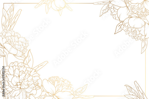 Fototapeta Rose peony flowers border frame with decorated corners. Floral botanical foliage garland bloom blossom. Bright shiny golden gradient light reflection on white background. Vector design illustration. obraz