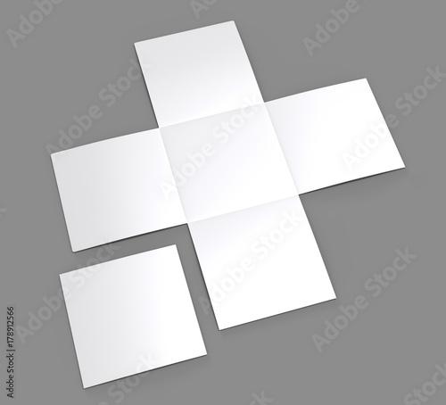 Blank white 3D illustration iron cross brochure mock up on gray Canvas-taulu