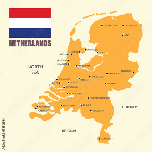 Netherlands map with flag and english label Wallpaper Mural