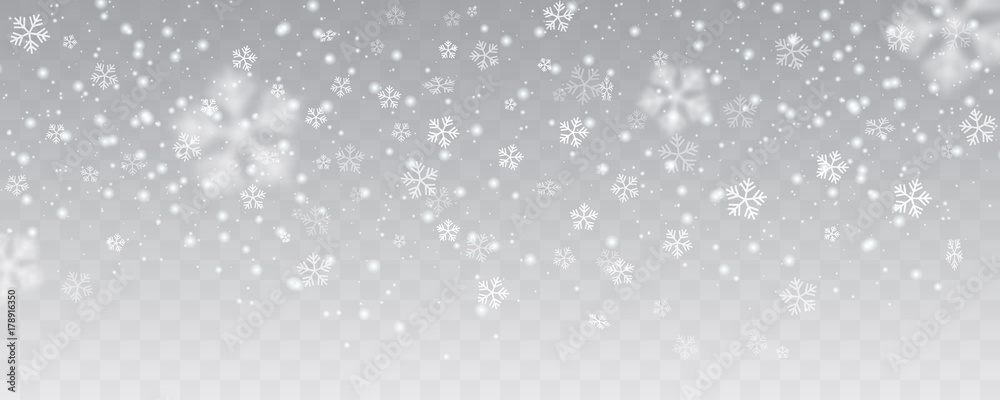 Fototapeta Vector heavy snowfall, snowflakes in different shapes and forms. Many white cold flake elements on transparent background. White snowflakes flying in the air. Snow flakes, snow background.