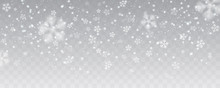 Vector Heavy Snowfall, Snowflakes In Different Shapes And Forms. Many White Cold Flake Elements On Transparent Background. White Snowflakes Flying In The Air. Snow Flakes, Snow Background.