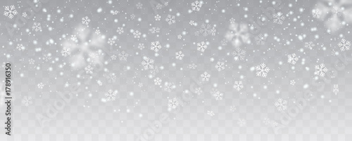 Tablou Canvas Vector heavy snowfall, snowflakes in different shapes and forms