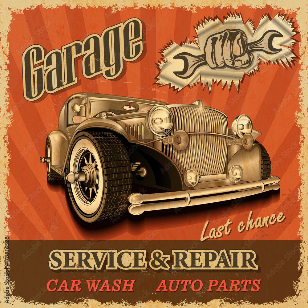 Vintage garaż retro plakat