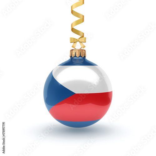 3D rendering Christmas ball with the flag of Czech Republic Poster