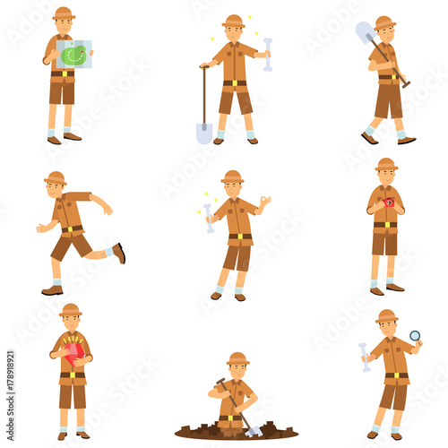 Set of archaeologist character actions Wallpaper Mural