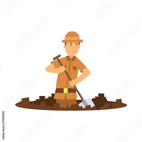 Boy archaeologist character digging pit with shovel Wallpaper Mural