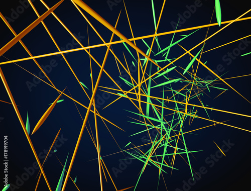 Abstract 3d rendering of chaotic green and orange lines on a dar