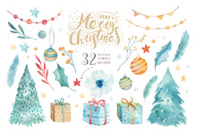 Merry Christmas Watercolor Set...