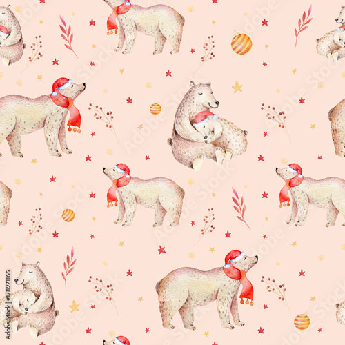Cotton fabric Seamless Christmas baby bear seamless pattern. Hand drawn winter backgraund with bear, snowflakes. Nursery animal illustration. New year design. Gold and red