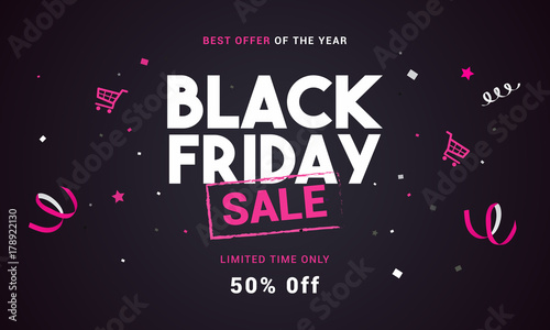 Papel de parede  Black Friday sale vector illustration, Black and pink theme