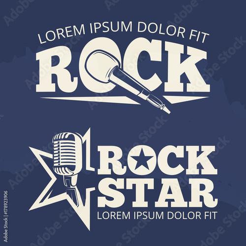 Valokuva Rock star music labels on grunge backdrop