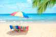 Ka-ron Beach at Phuket , Thailand. White sand beach with beach umbrella. Summer, Travel, Vacation and Holiday concept.