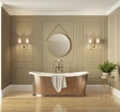 Leinwanddruck Bild Classic elegant luxury bathroom with bronze bathtub