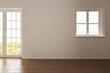 canvas print picture - Leeres Zimmer mit einem Fenster und Tür sowie heller Wand