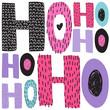 Christmas hand draw greeting cards lettering HoHoHo.