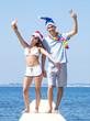 Young couple on beach. Christmas concept