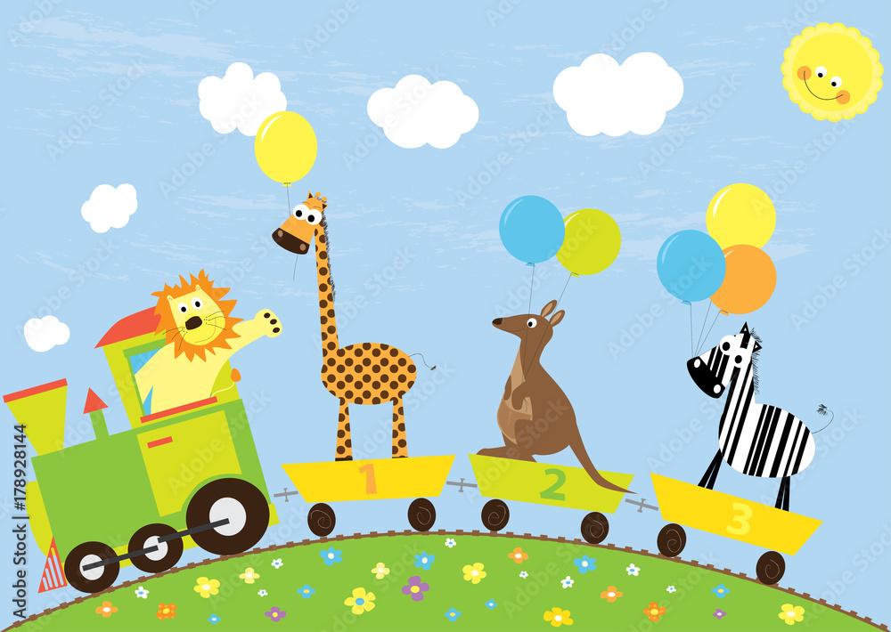 pociąg kreskówki, dzikie zwierzęta z balonami