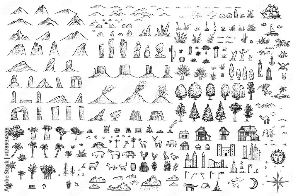 Fototapeta Fantasy map elements illustration, drawing, engraving, ink, line art, vector