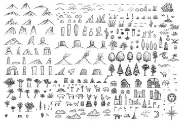 Fantasy map elements illustration, drawing, engraving, ink, line art, vector