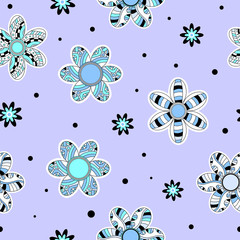 FototapetaColorful seamless tiling texture with blue, turquoise, black and white flowers
