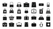 Handbag Icon Set, Simple Style