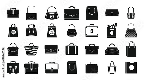 Photo Handbag icon set, simple style