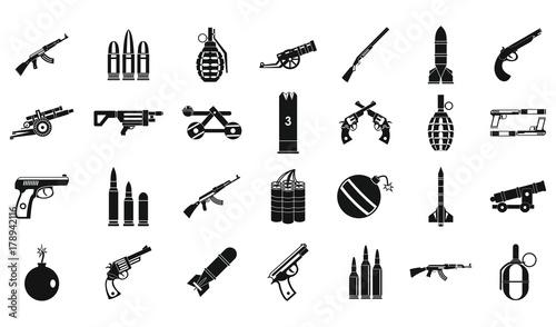 Photo  Weapons ammunition icon set, simple style