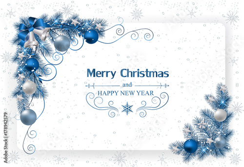 Stampa su Tela  Christmas background with decoration and paper