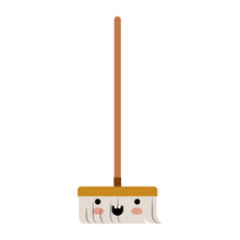 Kawaii Broom With Wooden Stick In Colorful Silhouette