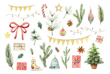 Watercolor Vector Christmas Se...