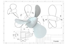 3d Illustration Of Boat Propeller Above Engineering Drawing