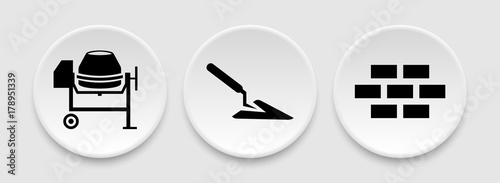 Fototapeta Bricks trowel and cement mixer icons obraz