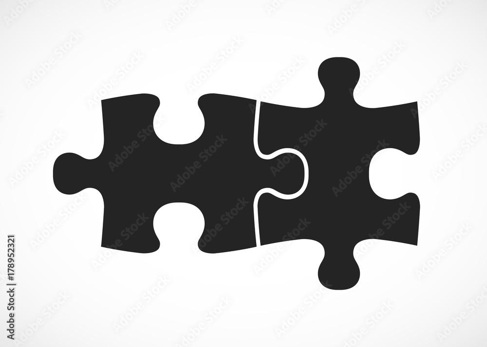 Fototapeta Double piece flat puzzle. Two section compare service banner.