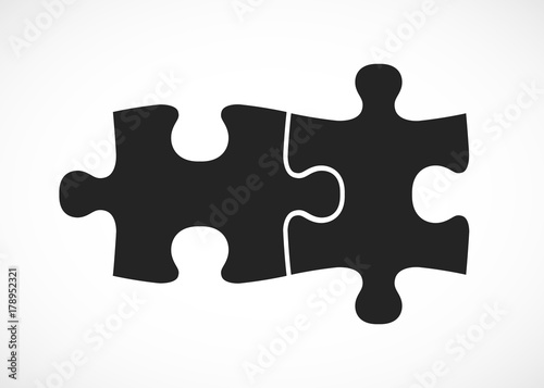Obraz Double piece flat puzzle. Two section compare service banner. - fototapety do salonu