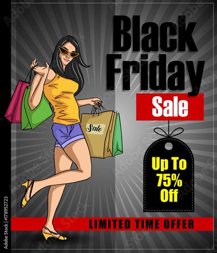Fototapety, obrazy: Black Friday shopping poster