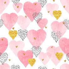 Pink Watercolor Hearts Pattern...