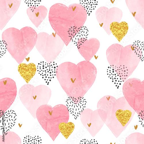 Pink watercolor hearts pattern Slika na platnu