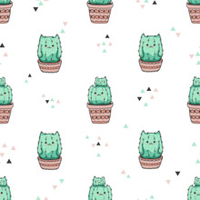 Seamless Pattern With Cute Cac...
