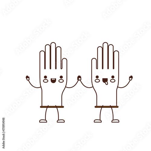 Fototapeta kawaii cartoon pair gloves holding hands in brown silhouette obraz na płótnie