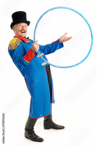 Fotografija  Ringmaster Circus Director, isolated on white background, senior man inviting pe