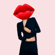 canvas print picture Contemporary art collage. Sensual red lips. Minimal fashion design.  Concept Cosmetics and Charm